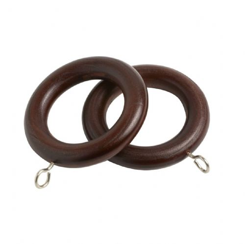 Speedy County 28mm Wooden Curtain Rings (Pack of 4) - Chestnut